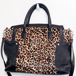 Talbots Leopard Print Calf Hair Leather Handbag